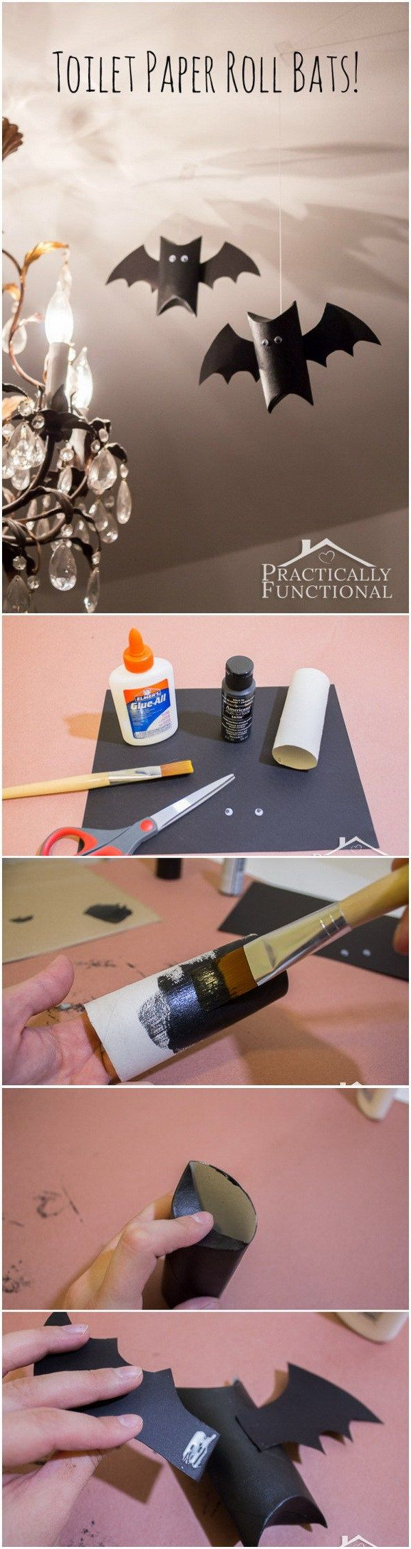 Toilet Paper Roll Bats. Recycled the toilet paper rolls at home and transferd them into these adorable halloween crafts. Super easy for kids to make.