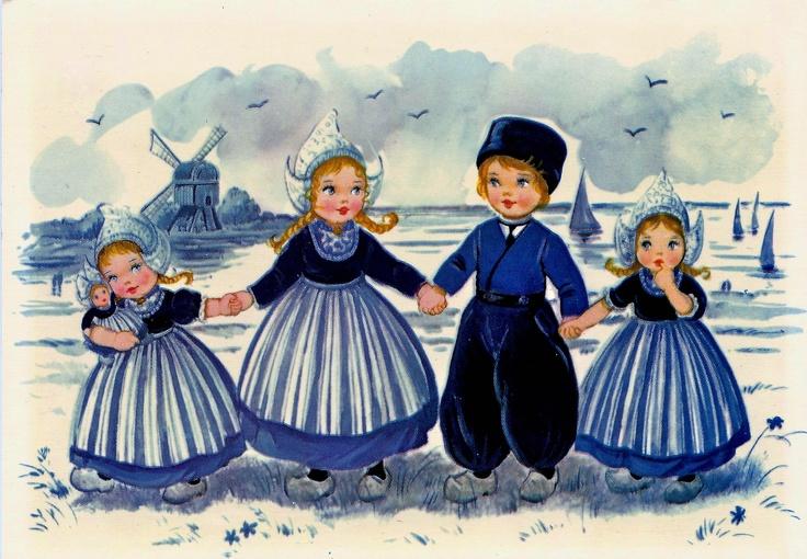 Vijf kinderen in Delfs blauwe kledij  met een molen op de achter grond leuk kaartje .                                                   lb xxx. QQQ