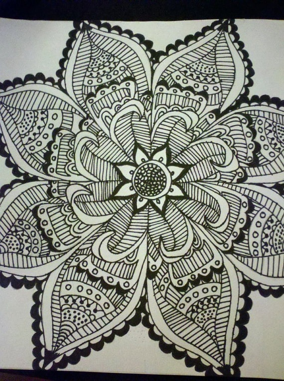 Henna Inspired Tattoo Drawing by UniverseReclining on Etsy, $45.00