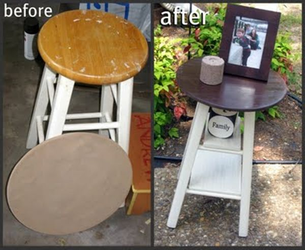 20 Creative DIY Coffee and Side Tables. -  I have actually made side tables for my bed out of bar stools. Only I used those circle place mats you can find at Walmart, to cover the top and stapled underneath the seat to secure and painted the legs. Instead of making shelves, I used baskets that fit. I like how they turned out. Maybe soon I can take a photo to post it.