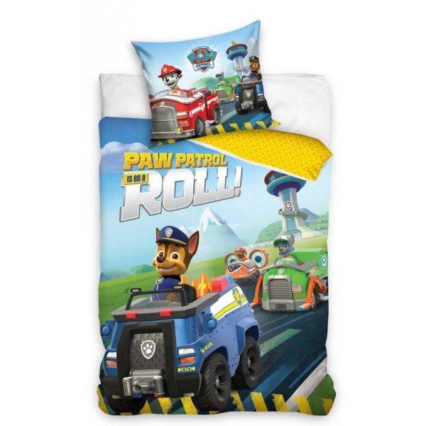 Paw Patrol sengetøj i 100% bomuld og med redningshundene Chase, Marshall, Rocket og Zuma