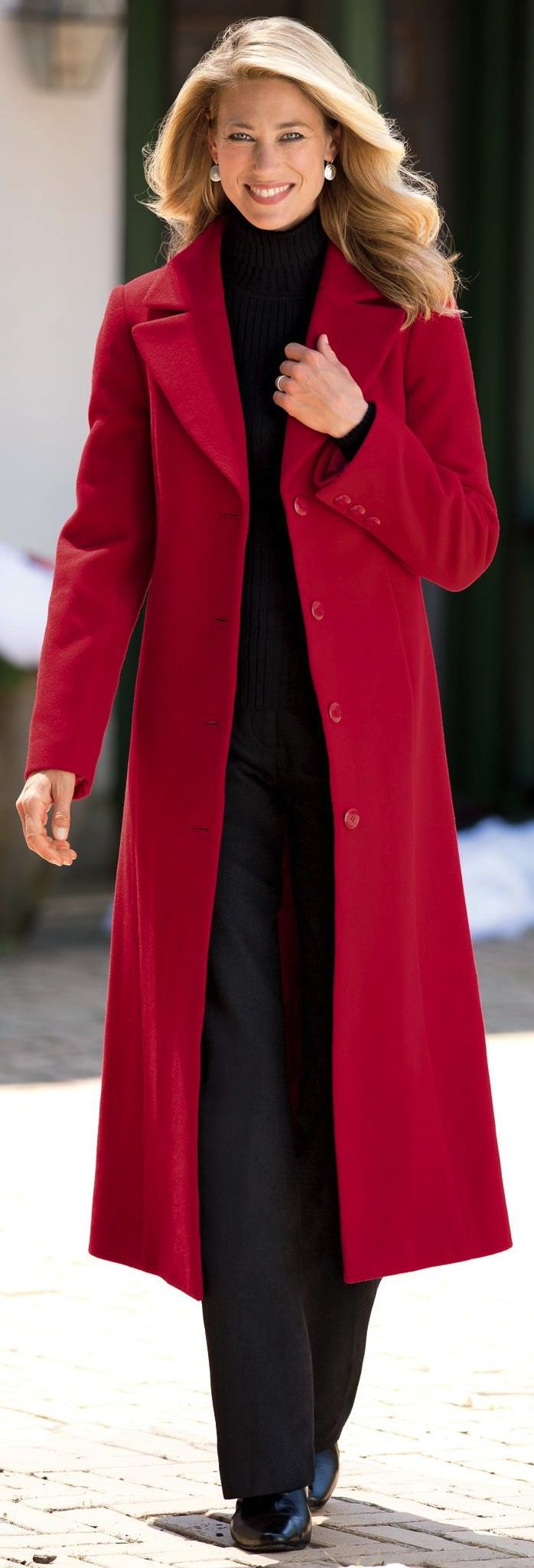 This gorgeous size 1X Eileen Fisher long red wool coat is perfect for fall and winter. The red is a pure red not at all orange or maroon or brown just real red.