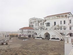 """Cape Coast Castle is one of about forty """"slave castles"""", or large commercial forts, built on the Gold Coast of West Africa (now Ghana) by European traders.The Cape Coast Castle is included on the United Nations Educational, Scientific and Cultural Organization (UNESCO) World Heritage List."""