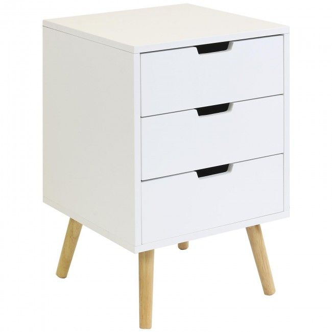 £42.99Hartleys 3 Drawer White Retro Bedside Table