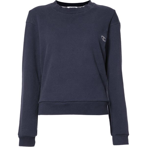 "Re/Done Reconstructed ""C\"" Logo Sweatshirt (6.370 UYU) ❤ liked on Polyvore featuring tops, hoodies, sweatshirts, navy sweatshirt, navy blue sweatshirt, navy blue long sleeve top, navy blue top and navy long sleeve top"
