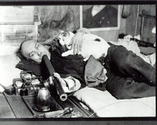 This photograph of a Chinese man smoking opium with his cat in San Francisco became a best-selling souvenir postcard of that city.