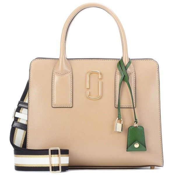 Marc Jacobs Big Shot Leather Tote (7.596.255 IDR) ❤ liked on Polyvore featuring bags, handbags, tote bags, beige, tote purses, leather handbag tote, genuine leather tote bags, leather tote handbags and leather purse