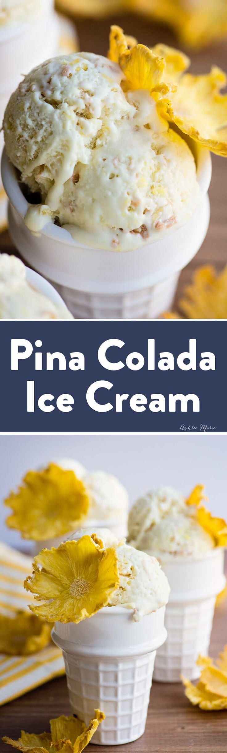 this pina colada ice cream recipe is easy to make and delicious - a coconut ice cream with chunks of pineapple and toasted coconut - with recipe video