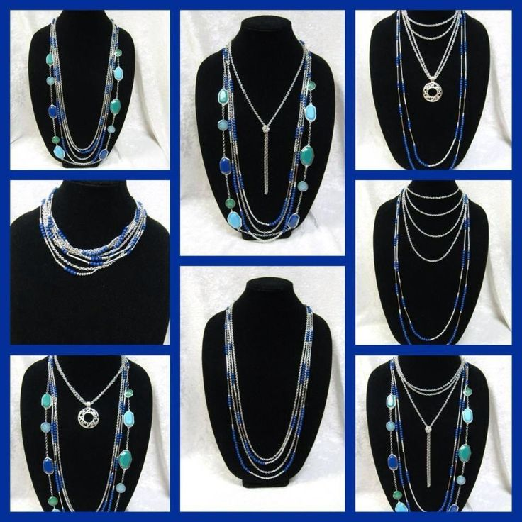"""Many ways to wear the """"True Blue"""" necklace. It's a piece you can wear dressy or throw on with some jeans and look like you tried that day!"""
