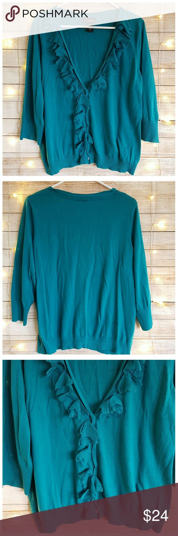 Lane Bryant Turquoise Cardigan Sweater Embellished Lane Bryant Womens Cardigan Sweater Top - Sexy Embellished V-Neck; Button Front; 3/4 Sleeves; Turquoise. Plus Size:  22/24  Gently used condition with no flaws. Please see photos for details.  Armpit to armpit:  25 inches, laying flat, unstretched. Length:  22 inches. Lane Bryant Sweaters Cardigans