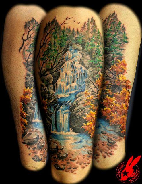 Waterfall Tattoo by Jackie Rabbit by Jackie rabbit Tattoos, via Flickr