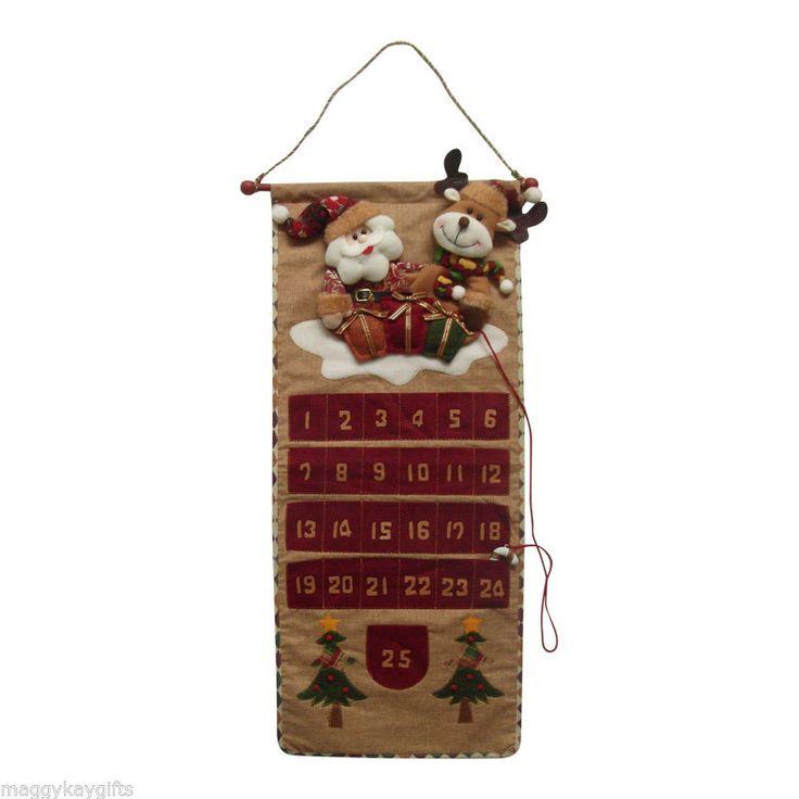 País de lujo Tela Navidad Calendario de Adviento-Santa & Rudolph-Reutilizables