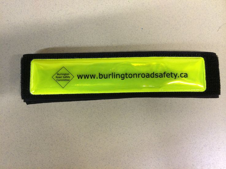 reflective armbands by the Burlington Road Safety Committee for visibility during low-light times.  Fall is coming, and so will the darkness!