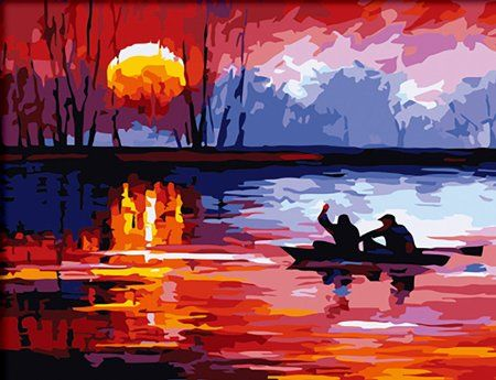 Amazon Com Diyoilpaintings Paint By Number Kit Sunset