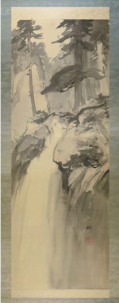 Scroll Painting : Waterfall by Yoshida Hiroshi /  自筆画幅 瀧 吉田博