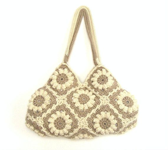 Crochet handbag in cream white and beige with flowers by zolayka, $85.00