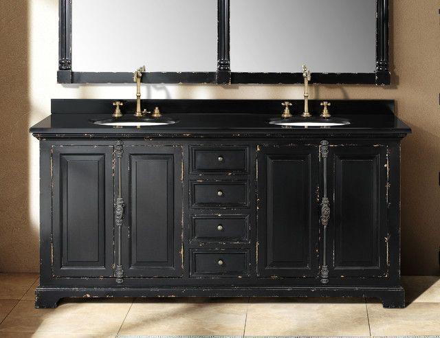 Best Antique Black Bathroom Cabinets Chic Double Bath Vanity Master With Regard Antiqu Black Cabinets Bathroom Bathroom Vanity Designs Wood Bathroom Vanity