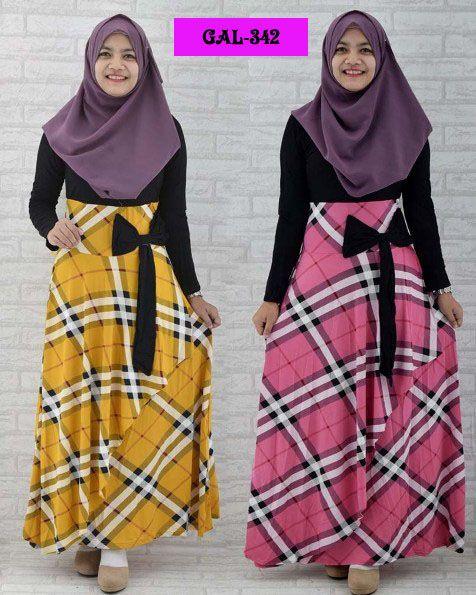 Koleksi Gamis Cantik :  Kode : GAL-342, Nama : Big Ribbon Burberrry Gamis, Harga : IDR 137, Warna : Biru, Pink, Kuning, Bahan : Spandek Korea