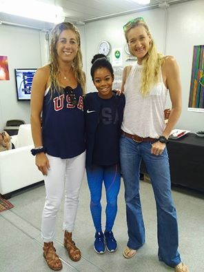 Kerri Walsh-Jennings, April Ross (US WOmen's Beach Volleyball) and US Gymnast Gabby Douglas-------2016 Rio Olympics
