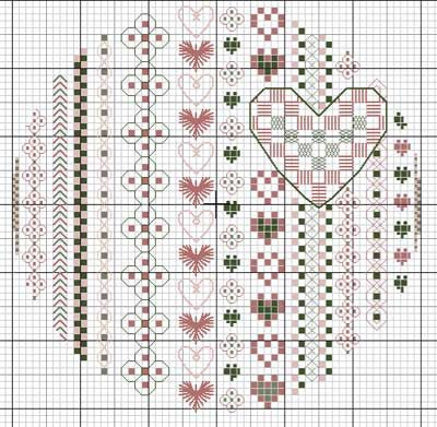 Cute heart cross-stitch pattern - click on the image to see more free charts!