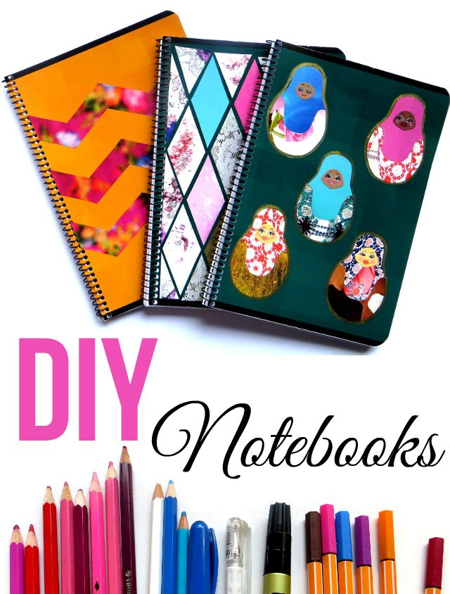 DIY notebook cover ideas for back to school. Decorate three notebook covers by…