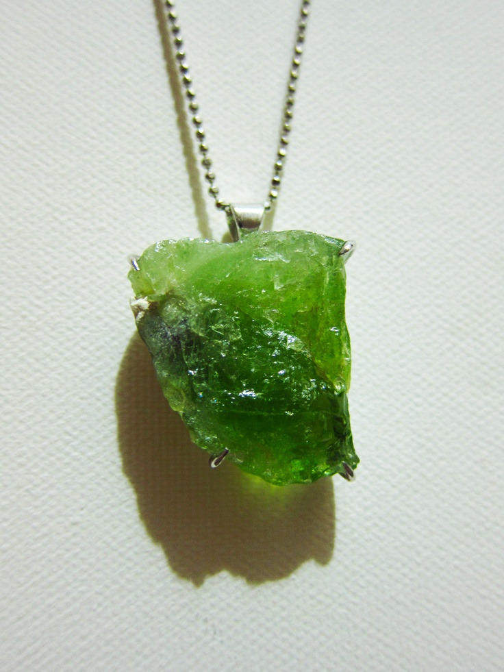 Raw Peridot Pendant Set In 925 Sterling Silver Raw
