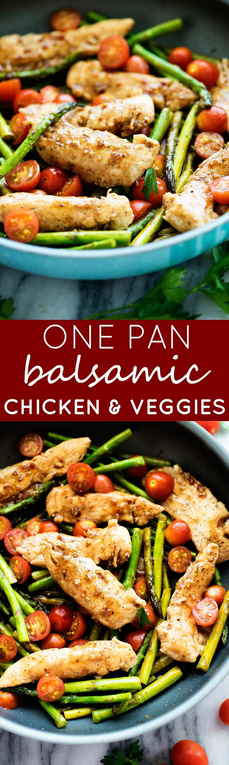Balsamic vinegar and honey creates a glaze that coats tender chicken &…