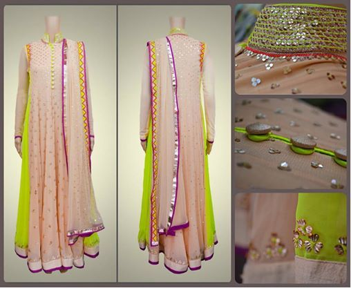 Sequins, buttons, neon and Indian? Kanika Kedia's peach outfit with a touch of neon is a perfect combo.