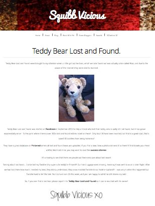 Squibbvicious  http://squibbvicious.com/2013/12/16/teddy-bear-lost-and-found