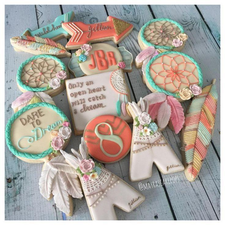 Boho Floral Dreamcatcher Cookies