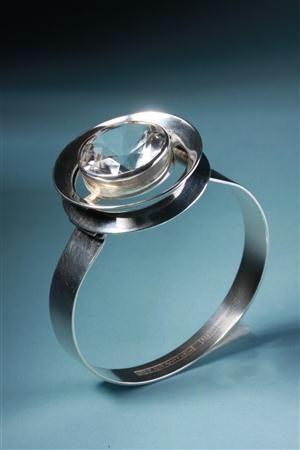 Bracelet  Designed by Erik Granit, Finland. 1960's.    Sterling silver and rock crystal.