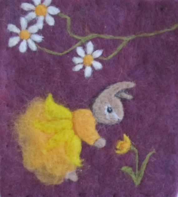 Original Art Needle Felted Wool Painting Tapestry by TheMoonGoat, $33.00