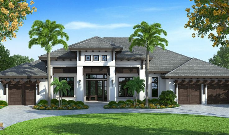 West indies house plan contemporary caribbean beach home for Florida house plans with photos