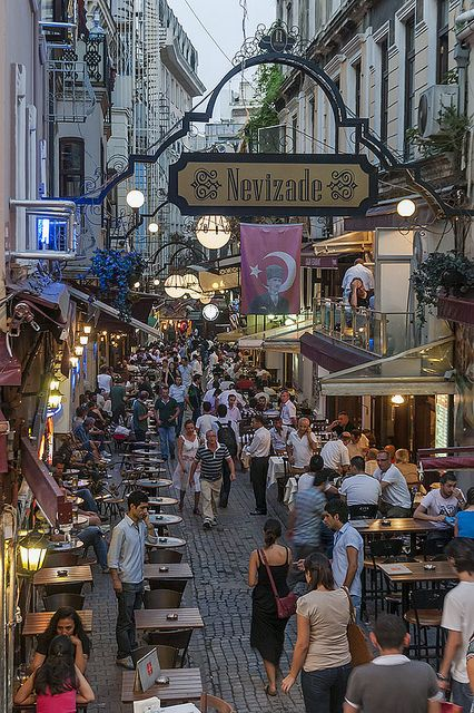 Nevizade Street, Beyoğlu, Istanbul .  Endless little bistros, trinket shops, flower stands, very lively night and day, was party central in early 20th Century post world war .