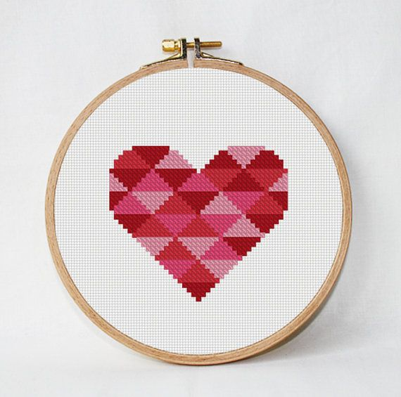 Geometric Heart Cross Stitch Heart Pattern от AnimalsCrossStitch