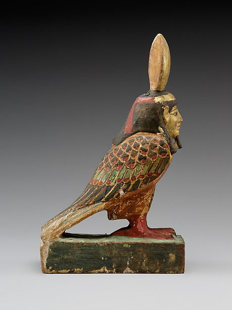 Painted wooden and gold leaf Ba-bird. Ptolemaic Period. 332-30 B.C. or later  | The Metropolitan Museum