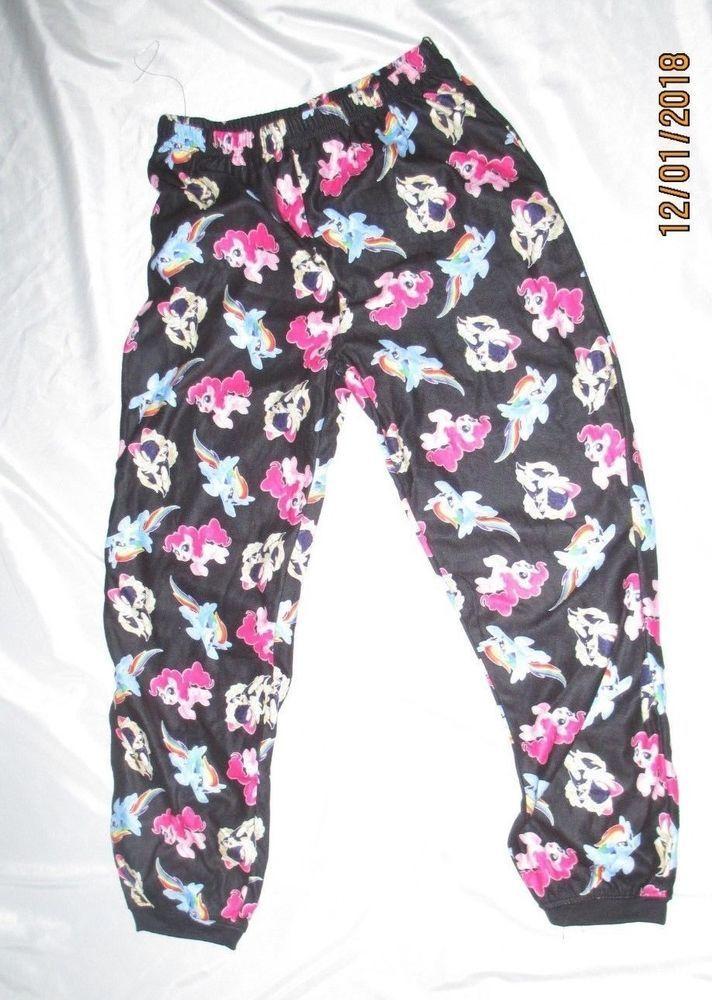 1a14e4743e My Little pony big girls flannel PJ Bottoms Black Multi pony print ...