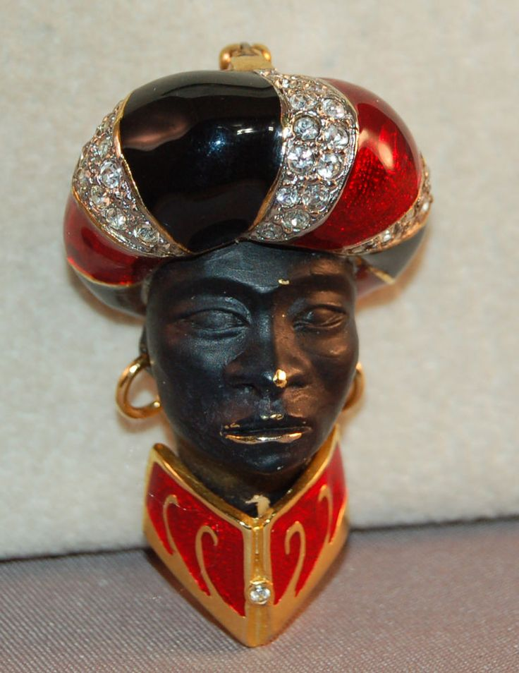 VERY RARE Butler & Wilson Enameled & Rhinestone Figural  Blackamoor Head Brooch! #ButlerWilson