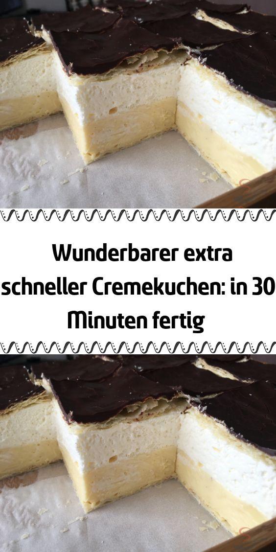 Wunderbarer extra schneller Cremekuchen: in 30 Minuten fertig