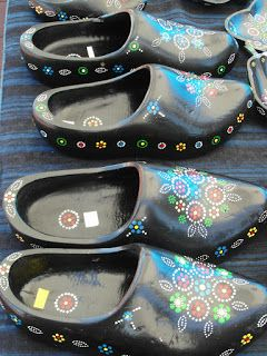 """Staphorst wooden shoes  known for the designs made with dots """"stipwerk"""""""
