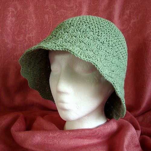 Green Flared Shell Brimmed Hat FrSide by luv_maxine_15611, via Flickr