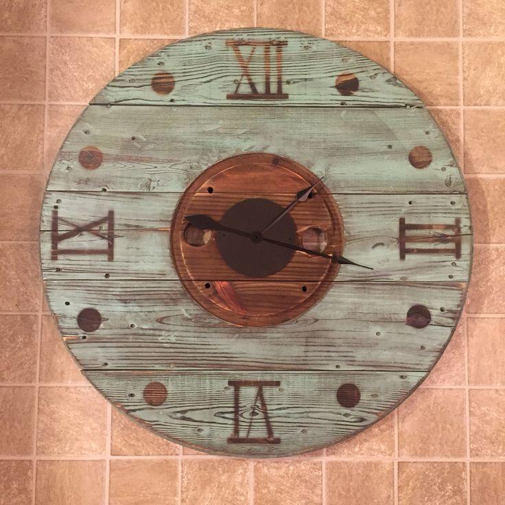 Distressed teal spool clock                                                                                                                                                     More