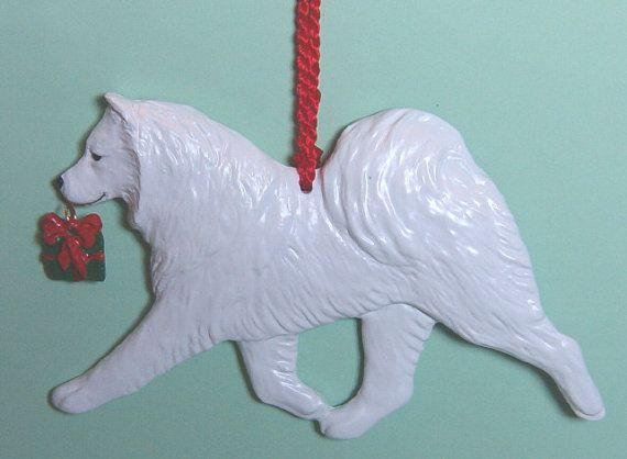 Samoyed with gift charm.  Artist AKC dog breed by ArtdogOrnaments, $16.00