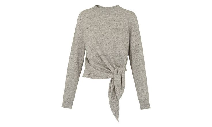 Tie Front Sweatshirt, in Grey Marl on Whistles