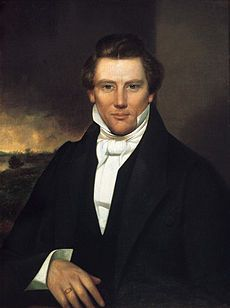 Joseph Smith, Jr. (December 23, 1805 – June 27, 1844) was an American religious leader and the founder of the Latter Day Saint movement, the predominant branch of which is Mormonism. At age twenty-four Smith published the Book of Mormon, and in the next fourteen years he attracted thousands of followers, established cities and temples, and created a lasting religious culture.