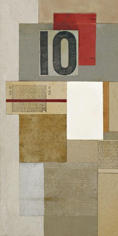 """collage UK : Ben Nicholson, 1947, """"Bus ticket"""", nombres, 10, gris, 1940s"""