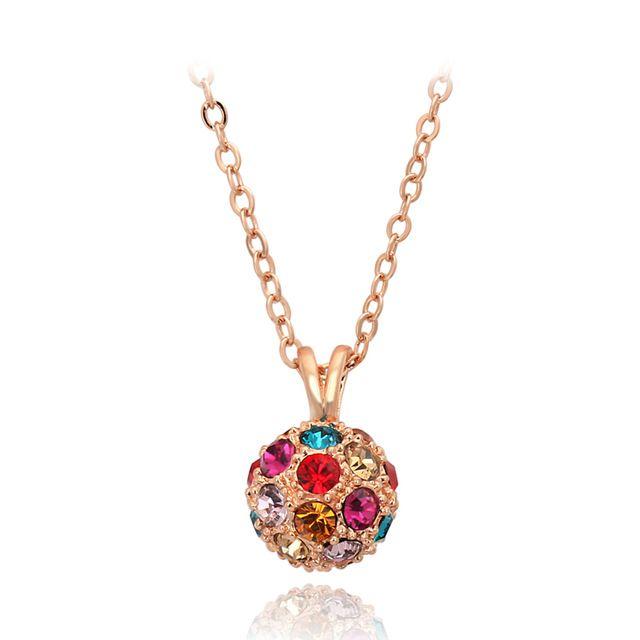 Высочайшее Качество ZYN244 Классический Цветной Шар Розовое Золото Льоны Ожерелье Ювелирные Изделия Австрийский хрусталь Оптовая