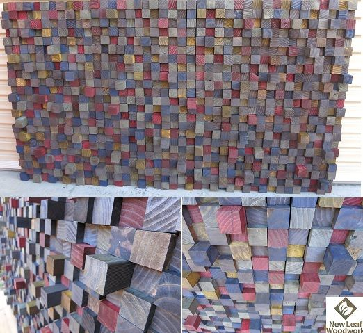 1 month, 920 blocks, 7 colours, 4 stages of timber ageing! A great project using recycled office beams :) #pallets #art #australianart #recycledtimbers