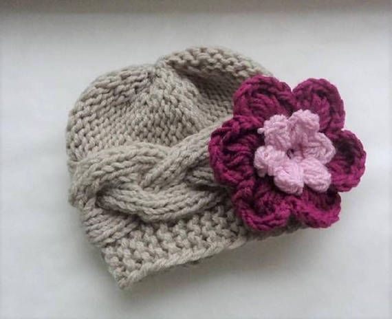 Baby hat Knit Cable Girl Hat Newborn Coming Home Girl flower