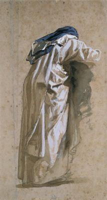 VINCENZO CABIANCA, Suora domenicana da tergo, appoggiata ad un parapetto, matita acquarello e biacca su carta beige, cm 29,4x16, Collezione privata